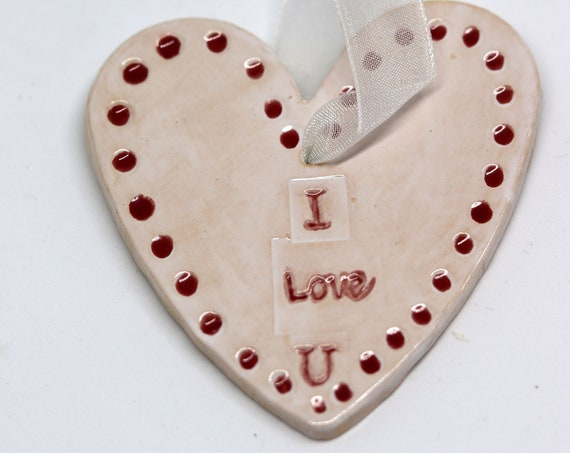I Love You, Hand Painted Pottery Love Heart, Happy Anniversary, Birthday, Valentine's, Wedding Day, Family, Children, Kids