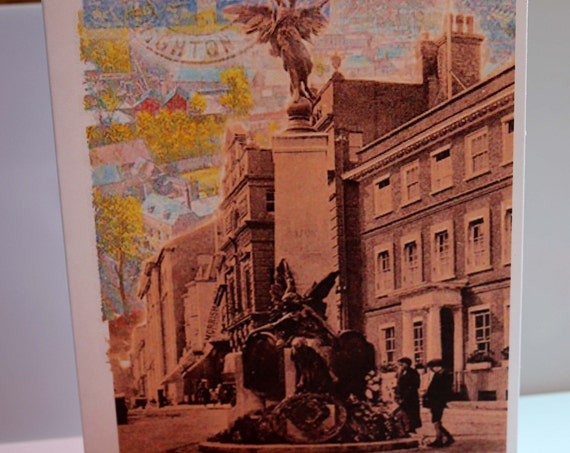 Lewes, Sussex Art, Vintage, Greeting Card, War Memorial, Old Stamps, Postcards, Postmark, British Town, School Hill, Historic, Birthday,