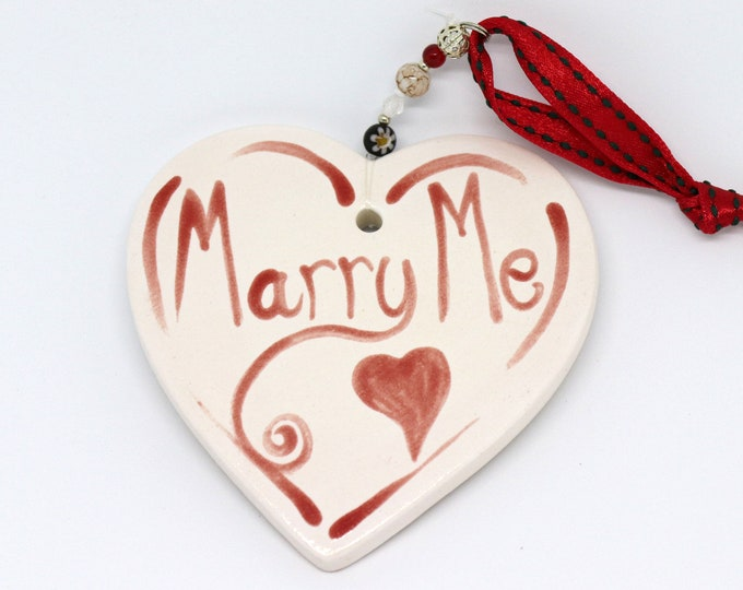 Featured listing image: Marry Me, Ceramic Heart, Hand Painted, Love, Weddings, Valentine, Anniversary, Wedding, Bride, Wedding Favour, Engagement, Renew Vows.