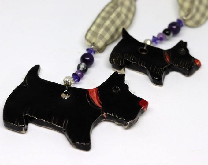 Featured listing image: Two lovely Black Scottish Terriers Dogs with red collars. Handmade Pottery sent to you in a lovely gossamer bag ready to be given as a gift.