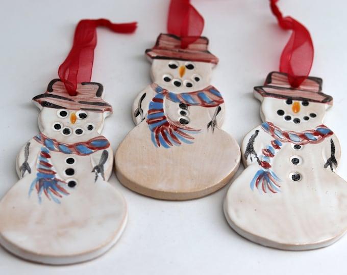 Featured listing image: 3 Pottery Snowmen, Christmas Tree Decorations. Xmas Ornaments, Christmas Baubles, Pottery, Snowman,  Secret Santa Present, Stocking Filler.