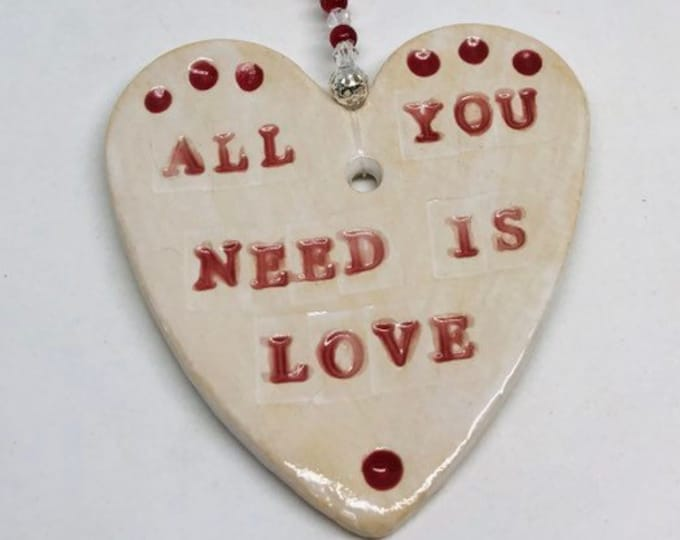 All You Need is Love Pottery Heart,Christmas, Wedding, Bride & Groom, Wedding Couple, Just Married, Valentine's, Anniversary, Sussex pottery