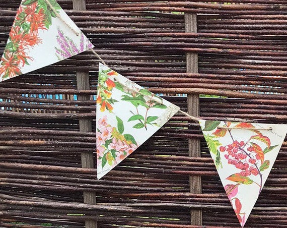 Paper Bunting Garlands, hand made wedding, party, event flags, vintage, decorative old pictures of flowers by Cynthia Newsome- Taylor.
