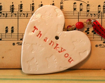 Thank you Pottery Heart, a lovely Gift for the Mother of the Bride, Bridesmaids, Matron of Honour. Handmade in my pottery studio in Sussex.