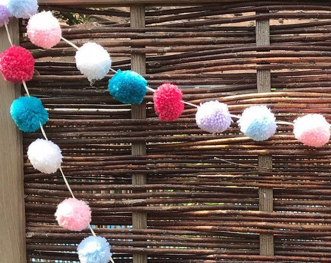 Featured listing image: Pom Pom Garland, Blue, Lilac, White and Cerise, Pink, Emerald, 34 Poms Bunting, Party, Birthday, Home Decor, New Home, Wedding, Decoration.