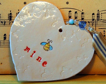 Be Mine Pottery Heart, Say it with a heart which can be kept much longer than a card. Handmade in my pottery studio in Sussex.