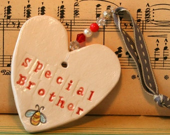 Special Brother Pottery Heart, Say it with a heart for your Brother's Birthday, or the arrival of a new baby. Handmade in my Sussex pottery.