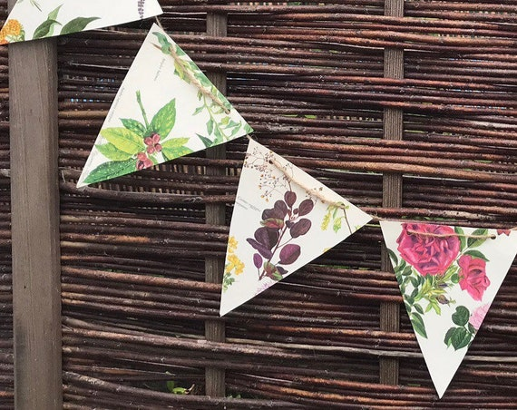 Flower Paper Bunting hand made from a Vintage Book of Illustrated Flowers by Cynthia Newsome- Taylor, ideal fro Weddings, Parties, Events.
