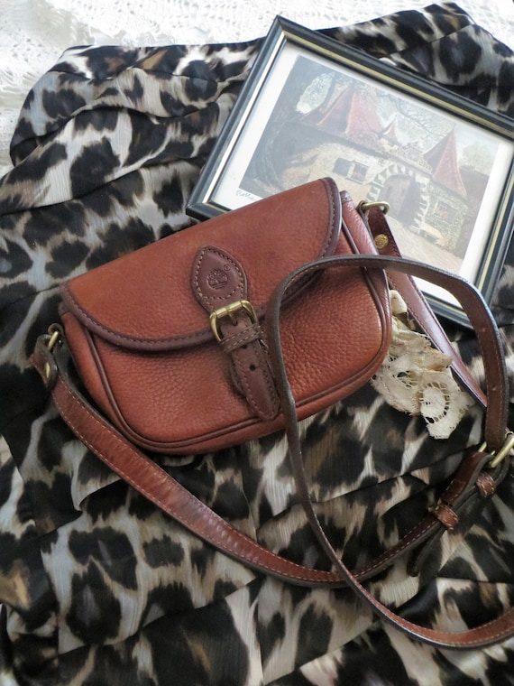 great deals 2017 the best attitude new authentic Vintage Timberland Purse Crossbody Bag, Timberland Brown Leather Messenger  Bag
