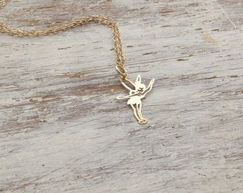 gold necklace, tinkerbell necklace, charm necklace, tiny gold necklace, fairy neckalce, petite necklace, small pendant necklace A527 ,A&T,