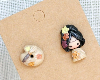 f ri d a    studs earrings / earrings polymer clay / jewels, made to order