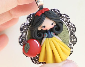 ready for shipping!!! clay doll PETITE collection / polymer clay snowwhite pendant -  zingaracreativa dolls