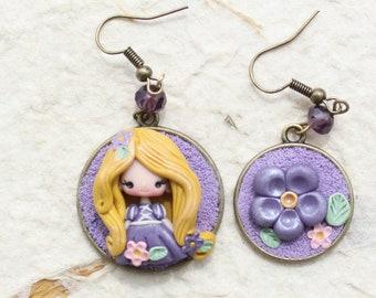rapunzel earrings - disney earrings- made to order