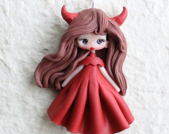 polymer clay little devil pendant- made to order