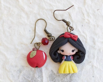earrings clay / polymer clay / clay doll / fimo/ snowwhite