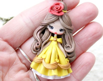 clay doll polymer clay pendant / belle / disney / princess / clay/ made to order