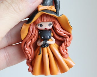 polymer clay witch pendant doll, zingara creativa, made to order