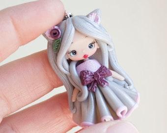 polymer clay necklace -fimo- zingara creativa-fairy- made to order