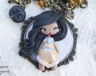 clay doll polymer clay pocahontas  / disney pendant / made to order