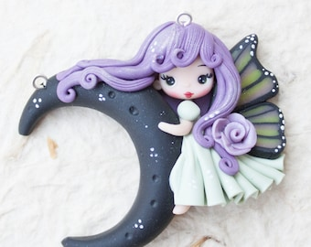in stock / polymer clay doll pendant moon