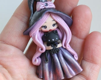 polymer clay witch pendant doll - made to order