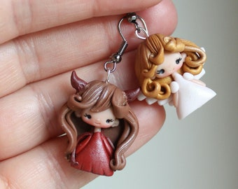 polymer clay dangle  / clay / fimo / angel and devil / PRE-ORDER