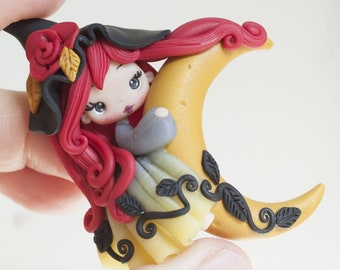 polymer clay witch pendant, polymerclay doll, zingara creativa, made to order