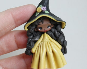 polymer clay witch pendant doll- made to order