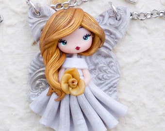 polymerclay pendant with little fairy- made to order