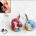 earrings clay / polymer clay / clay doll / fimo/ Ariel/ princess/ disney