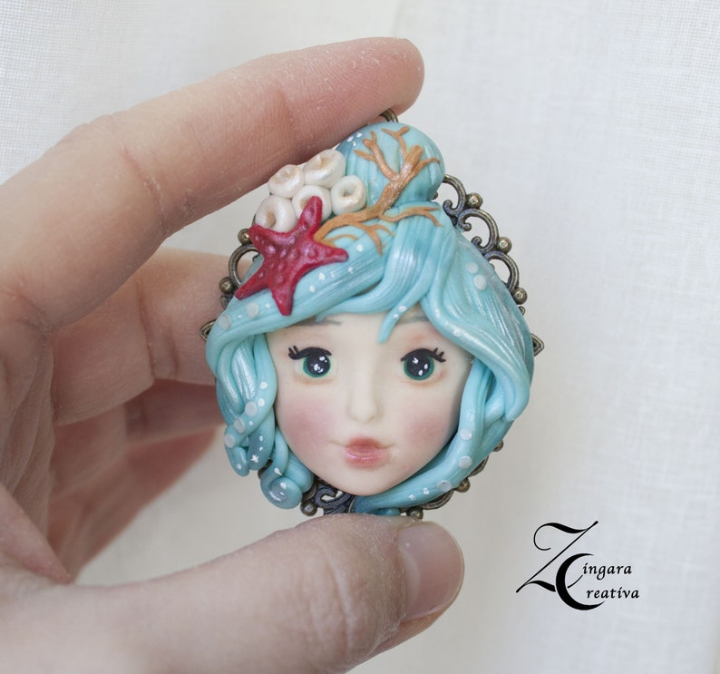 made to order-Mother Nature 2 polymer clay pendant image 0