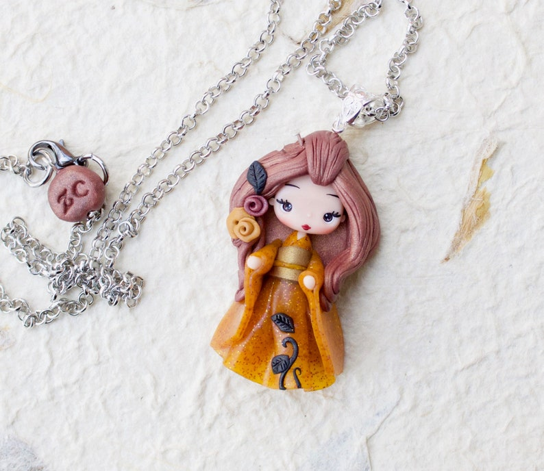 PRE-ORDER polymer clay necklace / geisha / clay / fimo / image 0