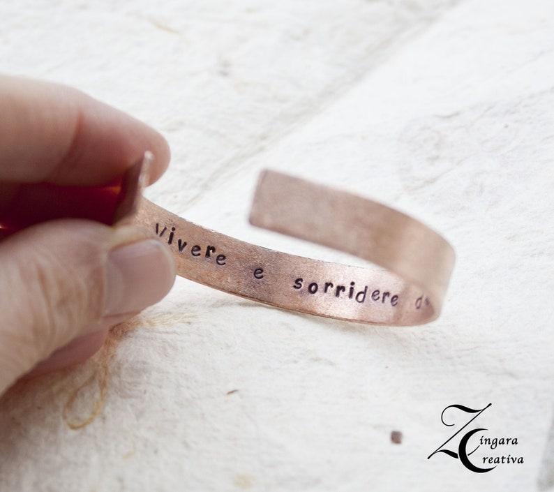 copper engraved bracelet-hidden phrase personalized bangle image 0