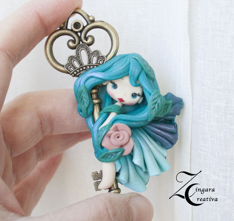 ready for shipping  polymer clay pendant with fairy image 0