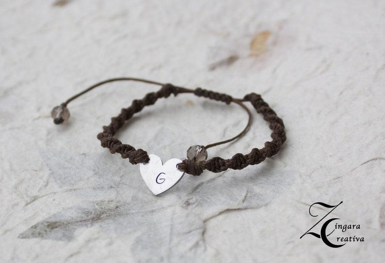 initial bracelet initial jewels personalized heart bracelet image 0