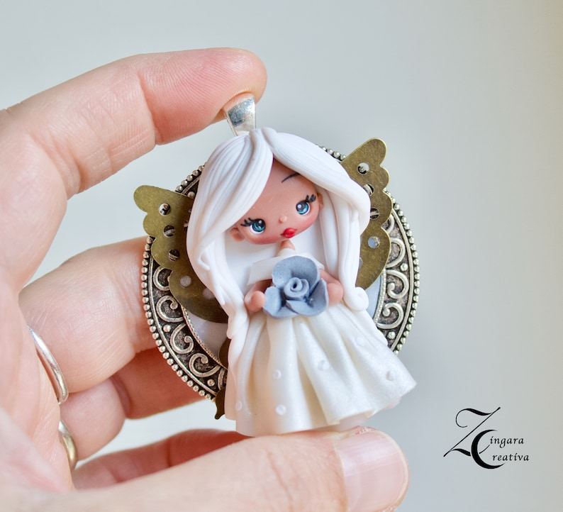 white collction polymer clay necklace / fairy / clay / fimo / image 0