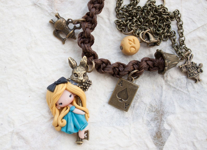 READY FOR SHIPPING polymer clay Alice necklace  image 0