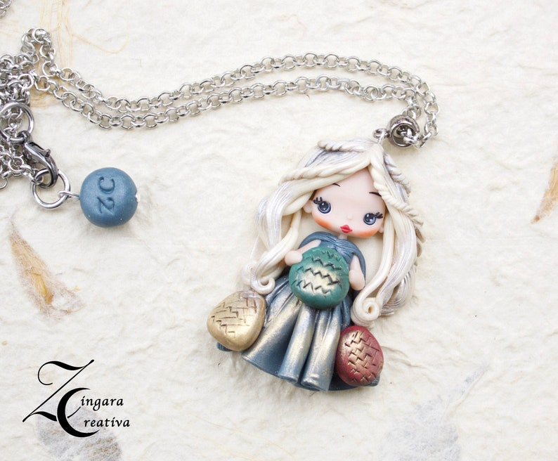 PRE-ORDER polymer clay necklace / Daenerys  doll / clay / fimo image 0