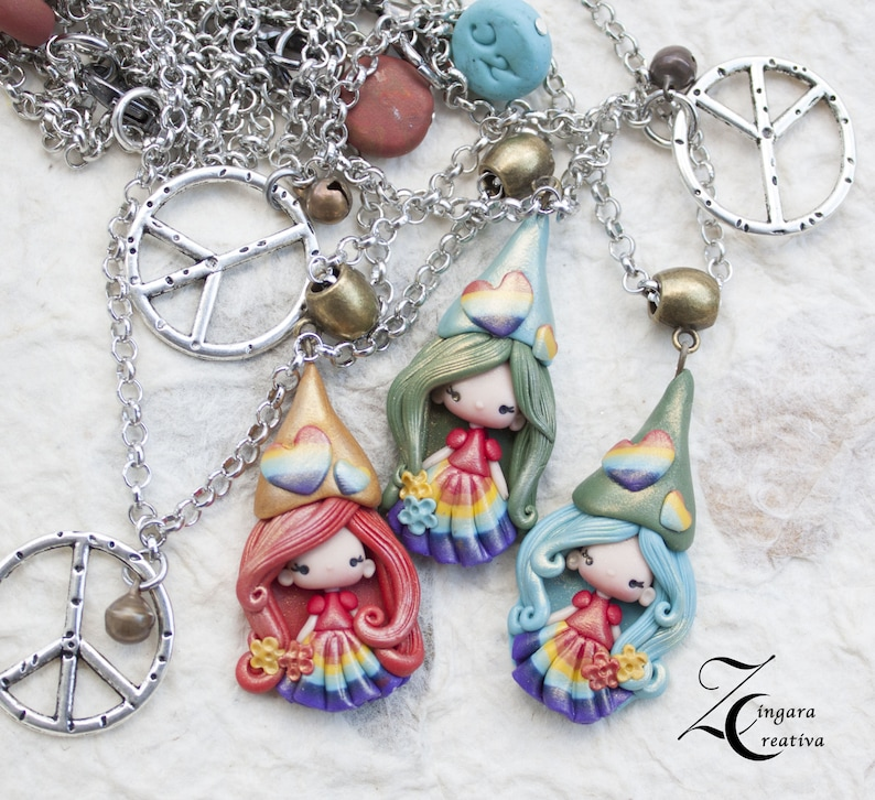 READY for shipping-gnome polymer clay peace necklace/ zingara image 0