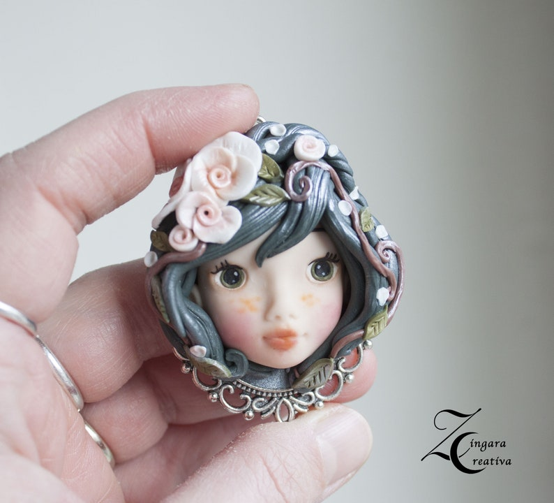 made to order-Mother Nature polymer clay pendant image 0