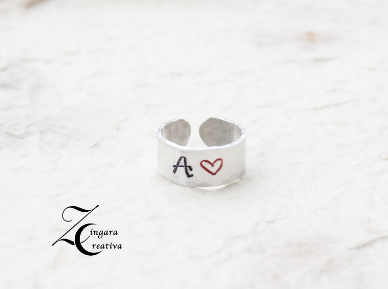 aluminum engraved RING initial jewels personalized ring image 0