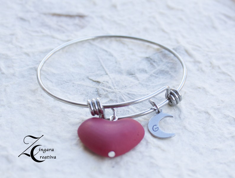 letter bracelet heart bracelet initial jewels personalized image 0