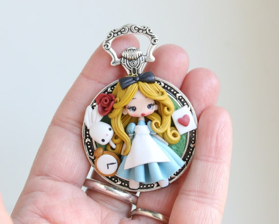 MADE TO ORDER polymer clay necklace  steampunk Alice  disney  princess  clay