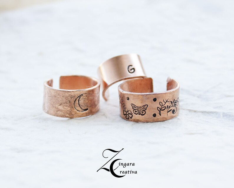 copper engraved RING phrase jewels personalized bangle image 0