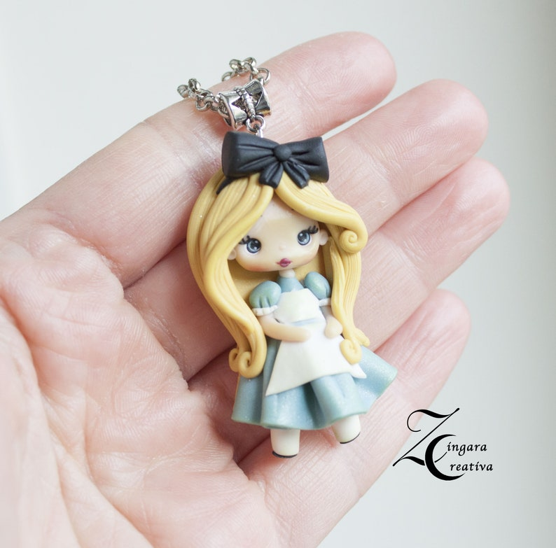 made to order  polymer clay necklace / alice in wonderland image 0