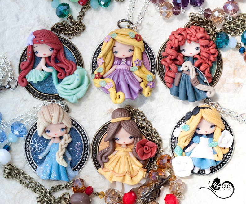 clay necklace / princess / disney / princess / clay image 0