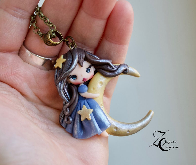 MADE TO ORDER polymer clay necklace fairy necklace doll image 0