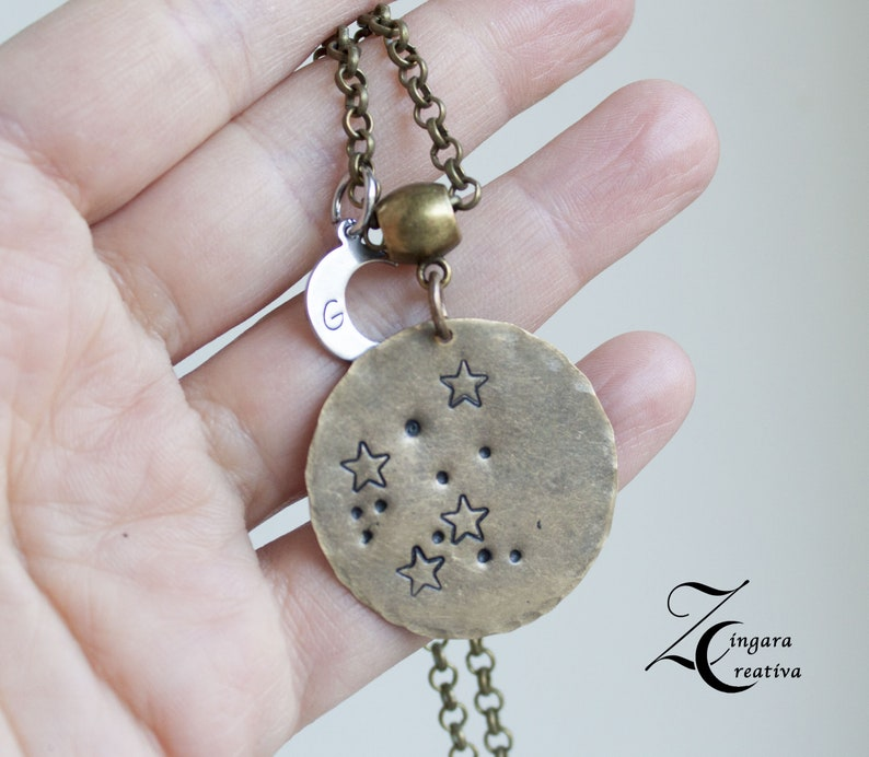 zodiac necklace letter necklace initial necklace moon image 0