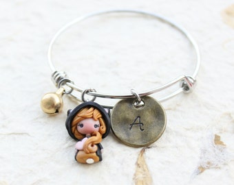 made to order - letter bracelet, charms bracelet, bangle with letter  and doll , cat lovers