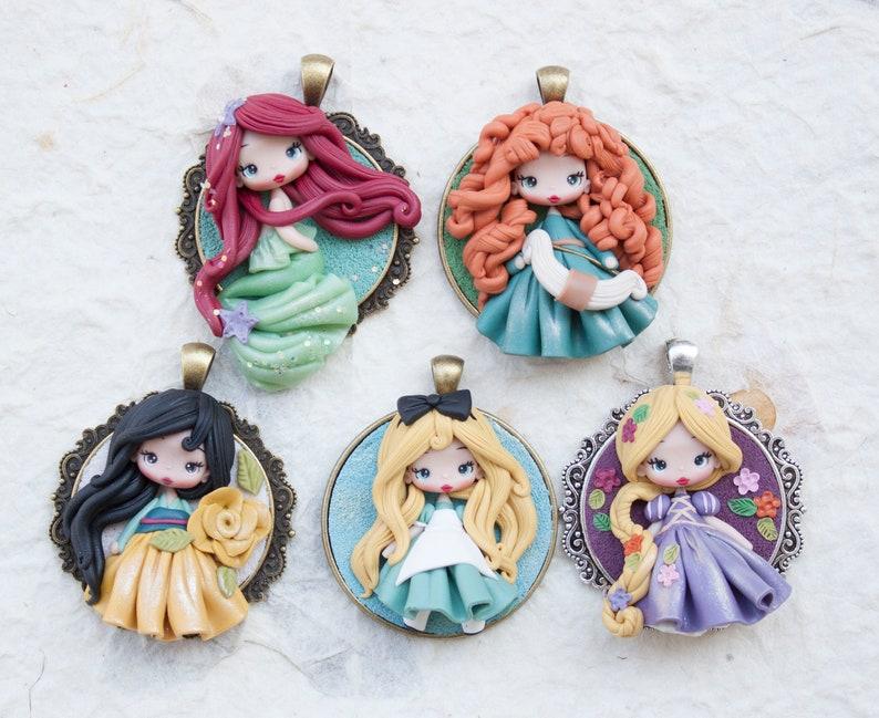 pre-order polymerclay pendant choose your princess 2 inch mulan